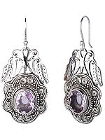 Sterling Silver Earrings with Oval Cut Faceted Amethyst