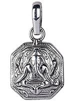 Lord Ganesha Sterling Silver Octagon Pendant