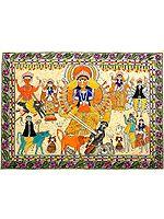 Eighteen-Armed Durga Killing Mahishasura