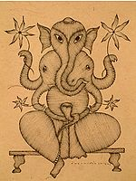 Five Headed Abstract Ganesha With As Many Trunks