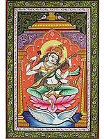 Goddess Saraswati Playing Vina