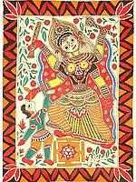 Mahavidya Bagalamukhi with Yantra