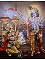 Krishna Delivering Gita Sermon to Arjuna