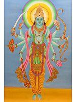 Composite Image of Bhagwan Vishnu, Shri Rama and Lord Kalki (the Tenth Incarnation of Vishnu)