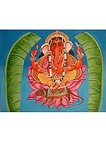 Folk Painting of Lord Ganesha from Varanasi Surrounded by Auspicious Banana Leaves