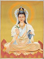 Kuan Yin - Goddess of Compassion Holding a Willow and the Vase of Divine Nectar
