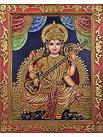 Goddess Saraswati Adorned in Rich Silk