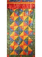 Multi-Colored Woven Auspicious Tibetan Symbols with Patchwork - Tibetan Altar Curtain