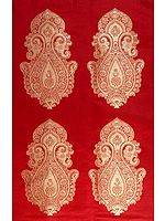 Red Banarasi Hand-woven Brocade Fabric with Auspicious Motif