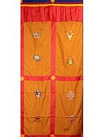 Tibetan Buddhist Altar Curtain with  Embroidered Ashtamangala (Eight Auspicious Symbols of Buddhism, Tib. bkra shis rtags brgyad)