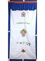 Embroidered Ashtamangala (Eight Auspicious Symbols of Buddhism, Tib. bkra shis rtags brgyad) with the Syllables Kalachakra Mantra and Om Mani Padme Hum - Tibetan Altar Curtain