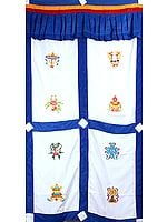 Embroidered Ashtamangala (Eight Auspicious Symbols of Buddhism, Tib. bkra shis rtags brgyad) - Tibetan Altar Curtain