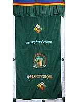 Embroidered Vishva Vajra, Syllables Om Mani Padme Hum with Kalachakra Mantra and Ashtamangala (Eight Auspicious Symbols of Buddhism, Tib. bkra shis rtags brgyad) - - Tibetan Altar Curtain