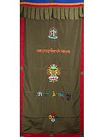 Buddhist Altar Curtain with Embroidered Ashtamangala