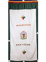 The Ten Powerful Syllables of The Kalachakra Mantra Altar Curtain with Vishva Vajra and Ashtamangala