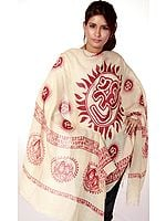 Beige Sanatana Dharma Prayer Shawl with Large Printed Om