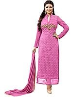 Cashmere-Rose Embroidered Long Chudidar Kameez Suit with Zardozi Patch