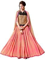 Beige and Pink Embroidered Anarkali Suit with Batik Print and Black Sequins