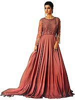 Mauvewood Floor-Length A-Line Gown with Zari-Embroidered Border and Hanging Long Glass Beads