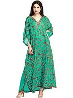 Pool-Green Kashmiri Kaftan with Ari Floral Embroidery by Hand