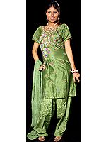 Green Chanderi Suit with Floral Embroidery and Sequins