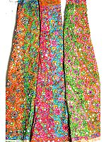 Lot of Three Multi-Color Lehenga Skirts with Mirrors and Large Sequins