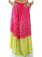Magenta and Lime Bandhani Skirt with Large Sequins
