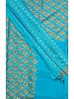 Sky-Blue Banarasi Suit with All-Over Floral Bootis