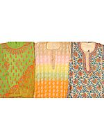 Lot of Three Lukhnavi Chikan Embroidered Kurti Tops