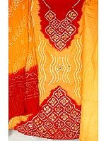 Amber and Red Bandhani Suit from Gujarat with Mirrors