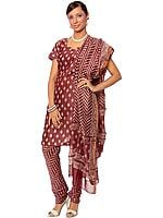 Brown Block-Printed Chanderi Choodidaar Suit