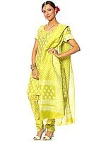 Lime-Green Block-Printed Chanderi Choodidaar Suit