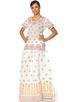 White Kurti-Skirt with All-Over Lukhnavi Chikan Embroidered Paisleys