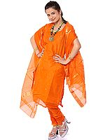 Orange Chanderi Suit with Bootis Woven in Golden Thread