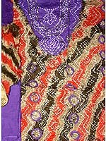 Purple and Orange Bandhani Tie and Dye Suit with Beadwork and Sequins