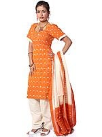 Orange and Cream Salwar Kameez Fabric with Ikat Weave