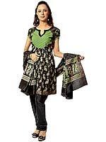 Black Banarasi Flaired Salwar Choodidaar Suit with All-Over Woven Paisleys