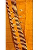 Butterscotch-Orange Chanderi Suit with Large Bootis