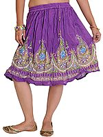 Short Skirt With Printed Flowers and Embroidered Sequins