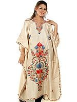 Beige Kaftan from Kashmir with Crewel-Embroidered Flowers