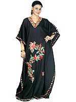 Black Kaftan from Kashmir with Ari-Embroidered Flowers