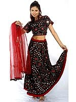 Black Lehenga Choli from Gujarat with Large Sequins