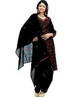 Black Needle Embroidered Salwar Suit with Shawl
