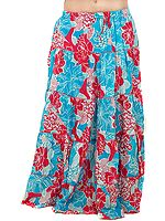 Blue and Pink Floral Printed Skirt