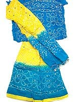 Blue and Yellow Bandhani Lehenga Choli with Sequins