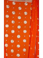 Bright Orange Salwar Suit Fabric with Embroidered Chakris and Gota Border