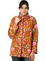 Bronze Ari Jacket from Kashmir with Embroidered Flowers