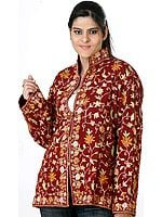 Brown Ari Jacket from Kashmiri with Floral Embroidery