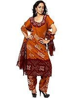 Brown Bandhani Salwar Kameez Suit with Mirrors and Threadwork