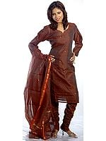 Brown Chanderi Salwar Suit with All-Over Golden Bootis and Zari Border